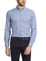 Мужская рубашка LC Waikiki белого цвета в синюю и черную клетку