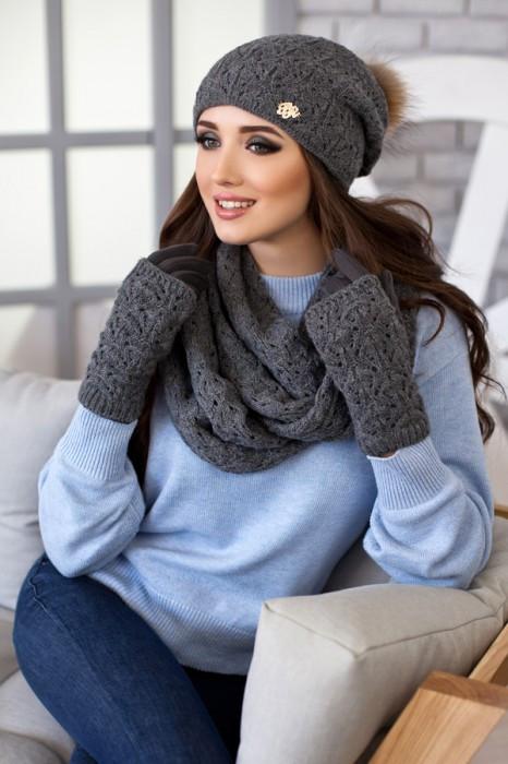 Комплект 4453-38 «Арианда» (шапка, снуд и перчатки) темно-серый