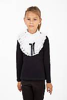 Школьная блуза для девочки с белым воротником-жабо с длинным рукавом черная