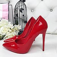 Только 37 размер маломерят! Элегантные туфли красные эколак Польша