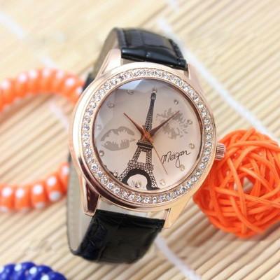 Женские часы Эйфелева башня с губками на ремешке из экокожи черные
