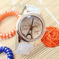 Женские часы Эйфелева башня с губками на ремешке из экокожи белые, фото 1