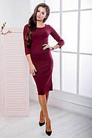 Платье женское по фигуре ,Материал: теплый мустанг ,  Цвета: черный, марсала, бутылочный фото реал опал №1086