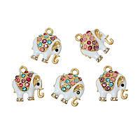 Подвеска, Слон, Позолоченный Разноцветный, Стразы и Эмаль, 18мм x 15мм