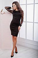 Платье женское по фигуре Материал: трикотаж резинка Цвета: черный, марсала, темно синий опал №1087
