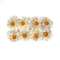 Цветочки декоративные Ромашки белые, бумажные, 8 шт/уп