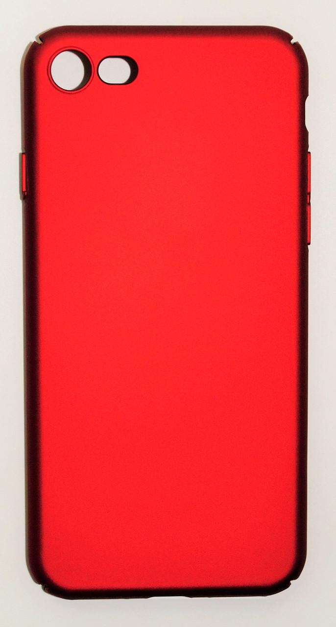 Чехол на Айфон 7 матовый Пластик PC Soft Touch Красный