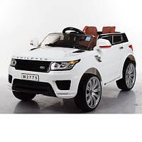 Детский электромобиль Land Rover Children M 2775 EBLR-1 белый, мягкие колеса и кожаное сиденье