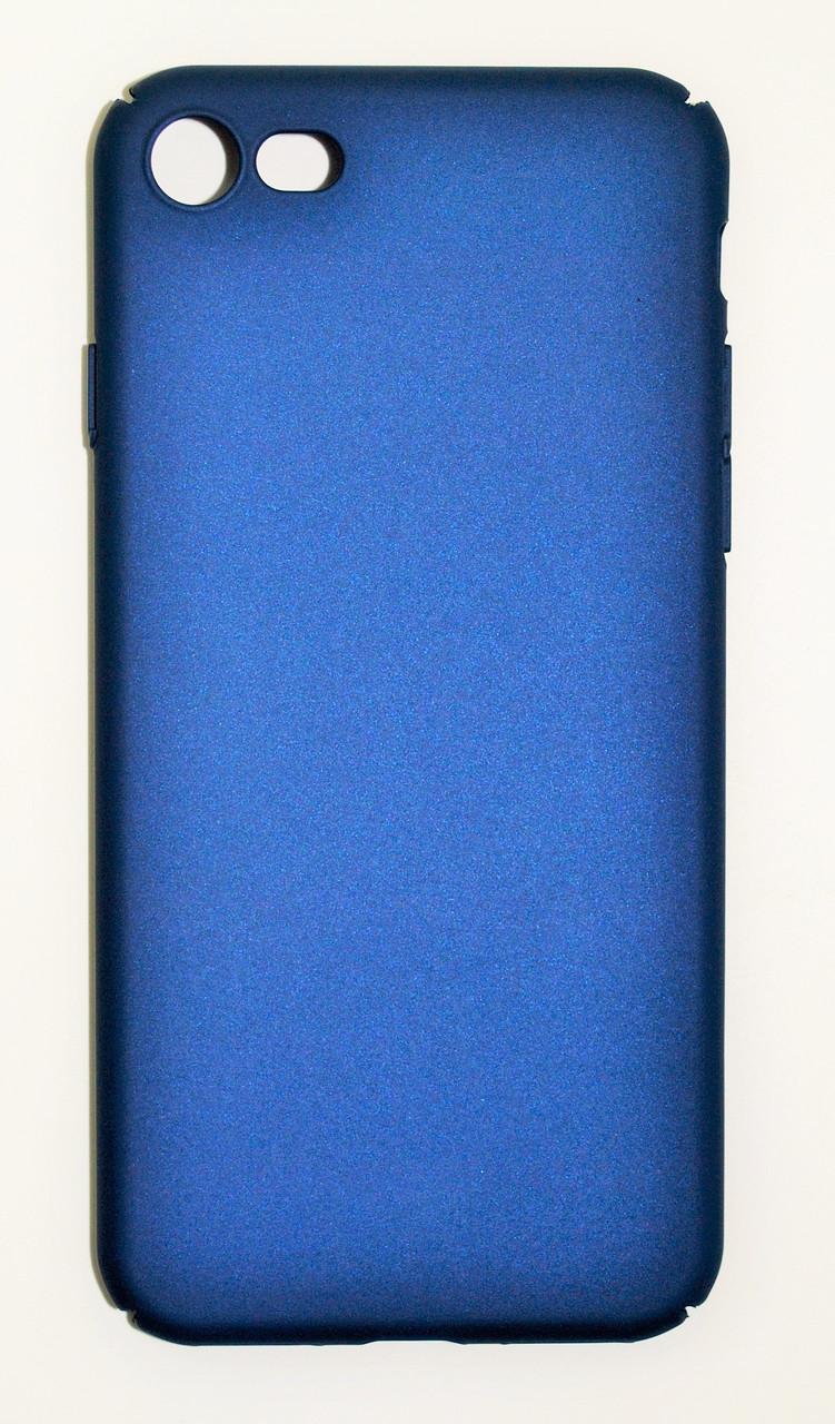 Чехол на Айфон 7 матовый Пластик PC Soft Touch Синий