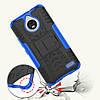 Чехол накладка для Motorola Moto E4 XT1762 противоударный с подставкой, синий, фото 2