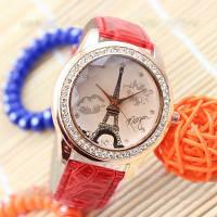Женские часы Эйфелева башня с губками на ремешке из экокожи красные