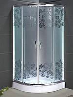 Душевая кабина SANTEH 9018W (90*90*1,95м) поддон 30см хром/Flowers