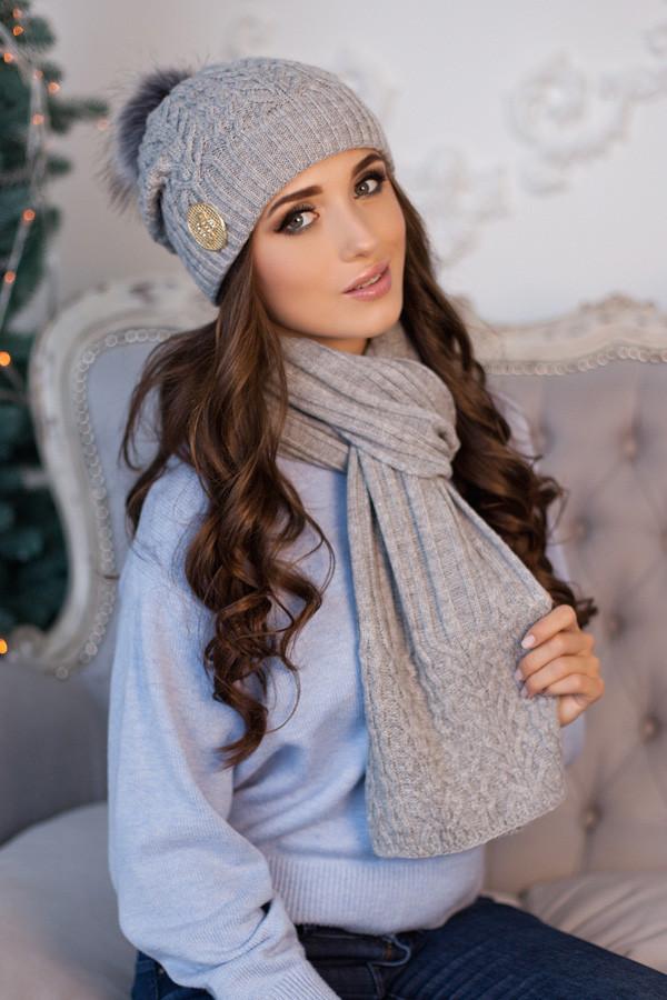 Комплект «Сінді» (шапка + шарф) 4501-10 світло-сірий