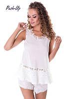 Женская шелковая пижама Suavite Леа-К молочного цвета