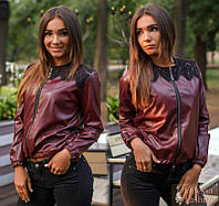 Стильная демисезонная куртка ветровка жакет экокожа+гипюр ( 42-44,46-48)