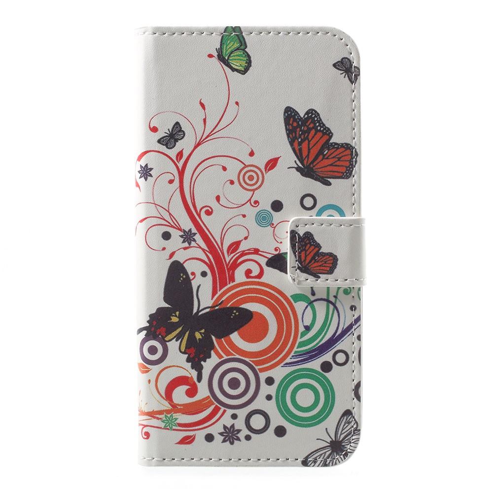 Чехол книжка для Motorola Moto E4 XT1762 боковой с отсеком для визиток, Butterflies and Circles