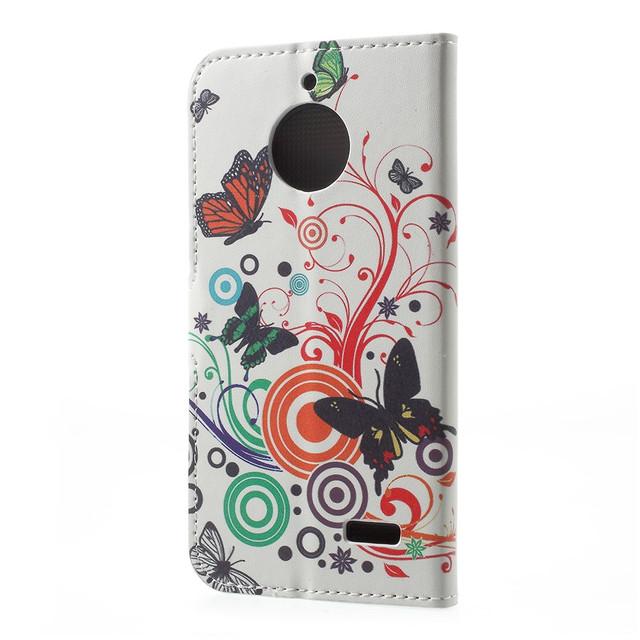 чехол книжка на Motorola Moto E4 XT1762 Butterflies and Circles