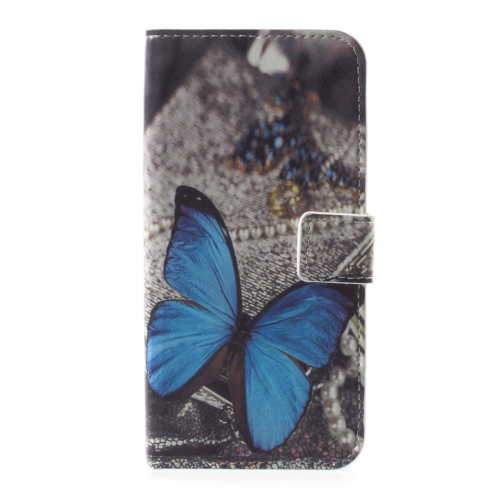Чехол книжка для Motorola Moto E4 XT1762 боковой с отсеком для визиток, Голубая бабочка