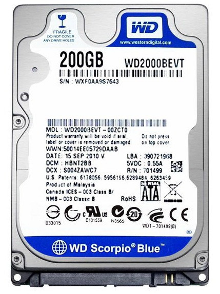 Винчестер для ноутбука 200GB Western Digital WD2000BEVT