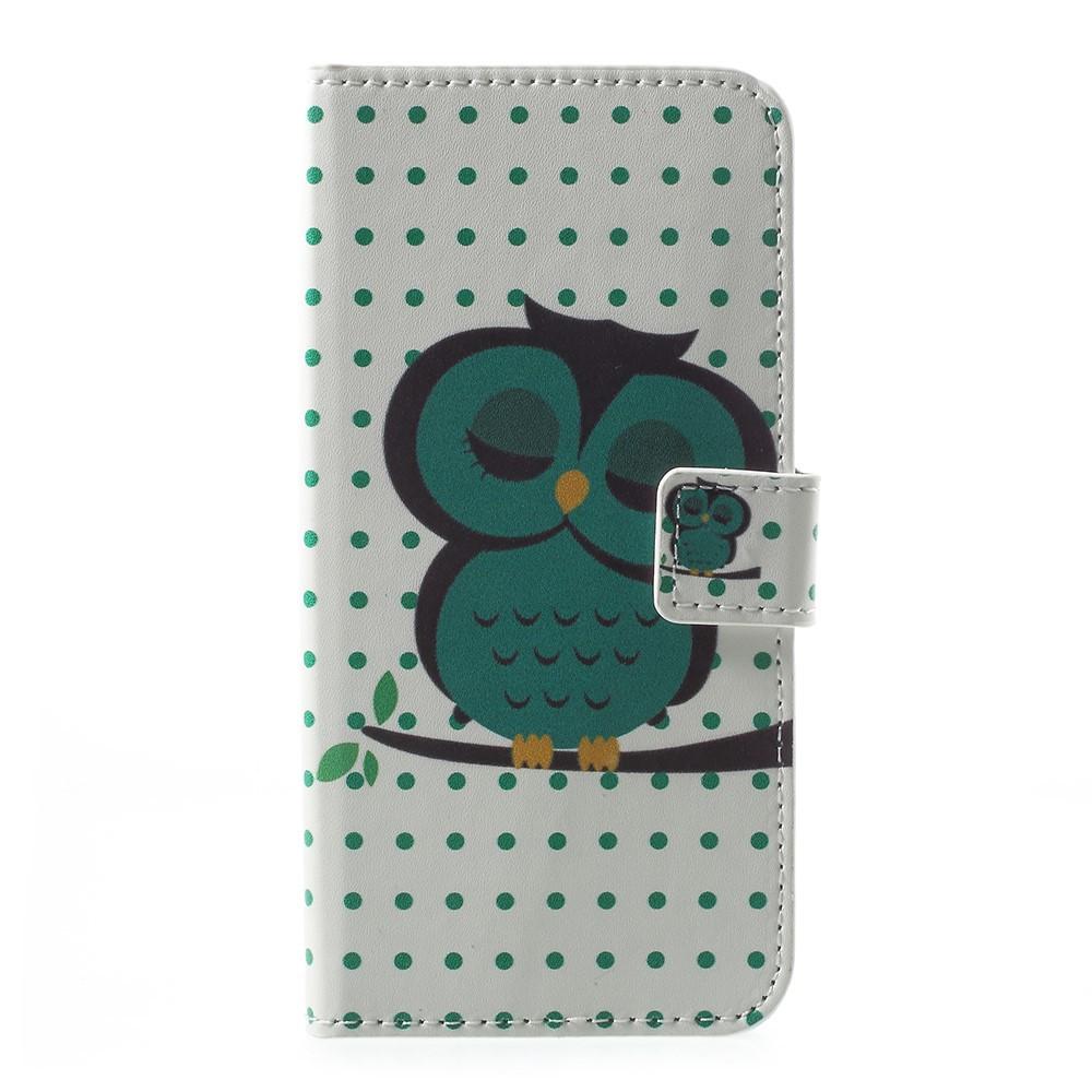 Чехол книжка для Motorola Moto E4 XT1762 боковой с отсеком для визиток, Спящий совенок