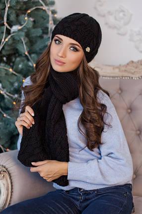Комплект «Камелия» (шапка и шарф) 4363-10 черный, фото 2