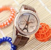Женские часы Эйфелева башня с губками на ремешке из экокожи коричневые, фото 1