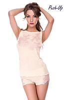 Женская шелковая пижама Suavite Лорэтт-К ванильного цвета