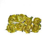 Цветочки декоративные Розы зеленые, бумажные, 8 шт/уп