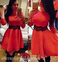 Платье мини женское, пышное платье от груди, платье с кружевом. Разные размеры и цвета.