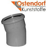 Колено HTB ПП 110х15° Ostendorf (Osma) Германия раструбная с уплотнительным кольцом, серый