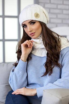 Комплект «Вираж» (шапка и шарф-хомут) 4351-7 белый, фото 2