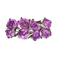 Квіточки декоративні Троянди бузкові, паперові, 8 шт/уп
