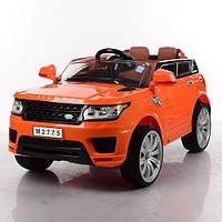 Детский электромобиль Land Rover Children M 2775 EBLR-7 оранжевый, мягкие колеса и кожаное сиденье