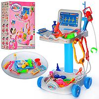 Игровой набор для девочек Набор Доктора606-1-5 -2 цвета, тележка 51*30.5*30см, инструм., микроскоп, очки,