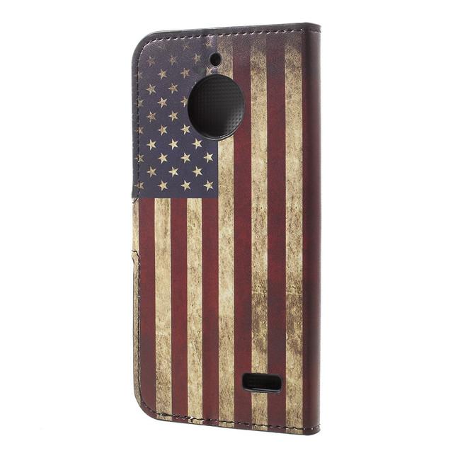чехол книжка на Motorola Moto E4 XT1762 с ретро флагом Америки