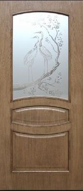 Дверное полотно шпон Венеция со стеклом с травлением Омис