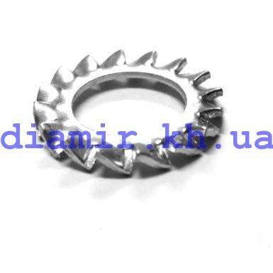 Шайба стопорная с наружными зубьями ф4 DIN 6798А, нерж. А2