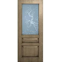 Дверное полотно шпон Верона со стеклом с травлением Омис
