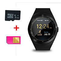 Смарт Часы Smart Watch Phone Y1 Черные. Шагометр. счетчик калорий, фото 1