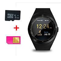 Смарт Годинник Smart Watch Phone Y1 Чорні. Шагометр. лічильник калорій, фото 1