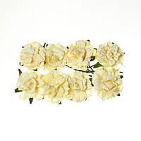 Цветочки Кудрявые розы кремовые, бумажные, 8 шт/уп