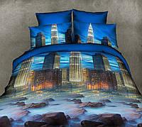 Полуторное постельное белье с простыней на резинке 90/200/25 Небоскреб, ранфорс