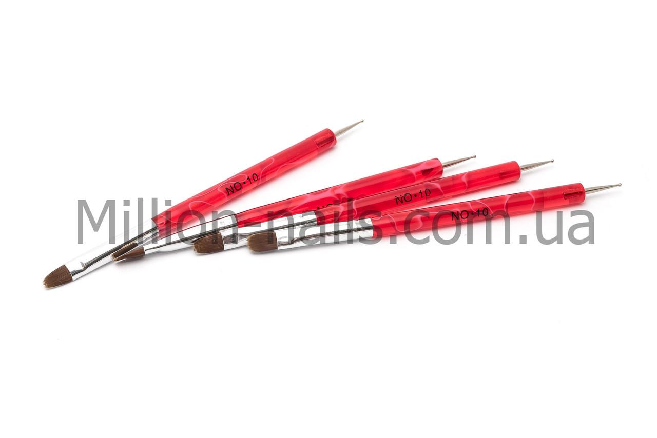 Кисть для геля + дотс для дизайна, красная ручка №10, фото 1
