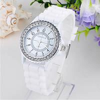 Женские часы силиконовые Geneva Crystal White белые со стразами, фото 1