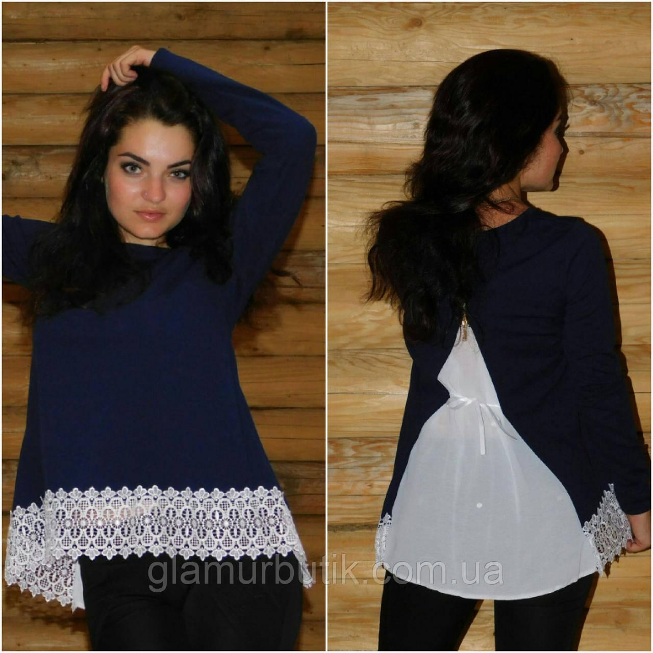 0d4d515e287 Красивая женская блузка блуза с кружевом и чёрной шифоновой вставкой на  спине синяя S-M L-XL