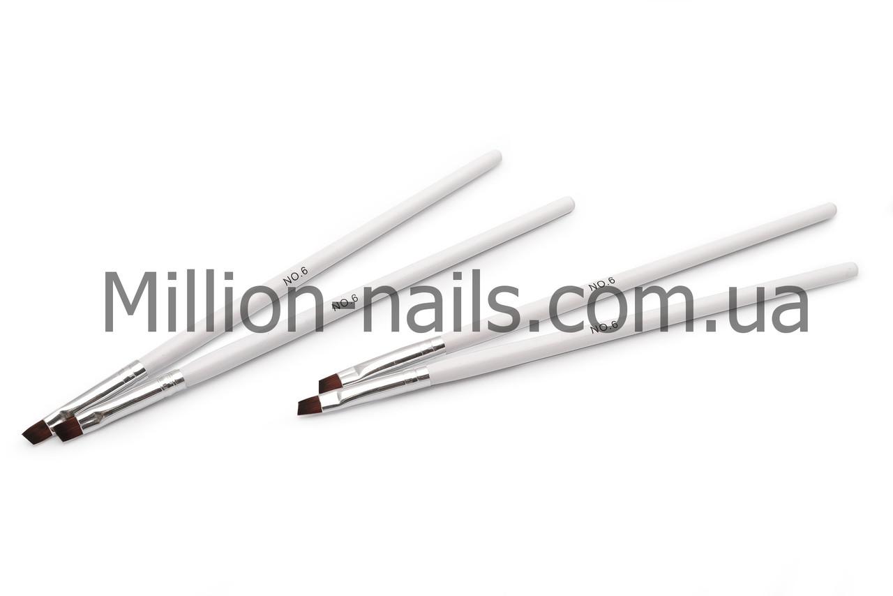 Кисті для гелю №6, біла ручка