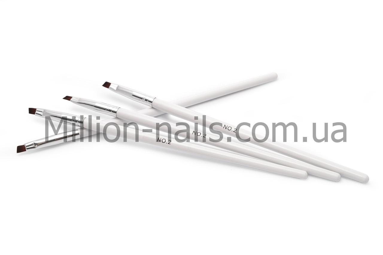 Кисти для геля №2, белая ручка