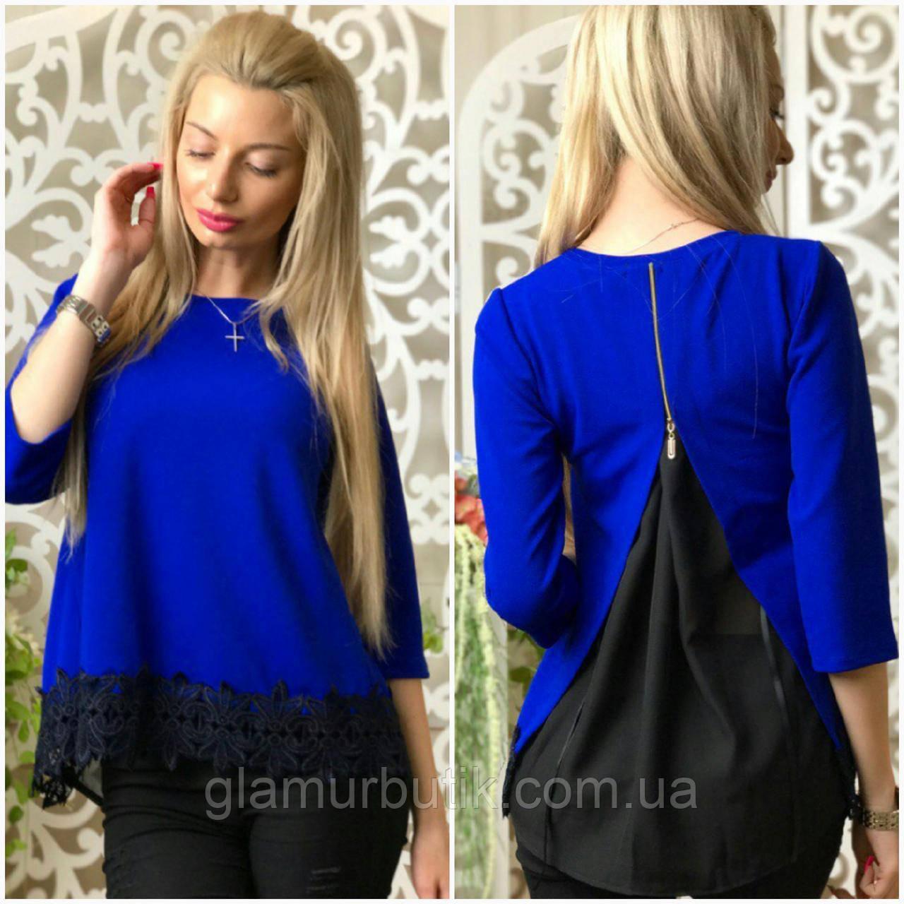 7fb16f39739 Красивая женская блузка блуза с кружевом и чёрной шифоновой вставкой на  спине электрик S-M L-XL