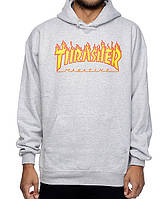 Худи Thrasher Flame серая | Толстовка Thrasher Flame Logo (реплика)