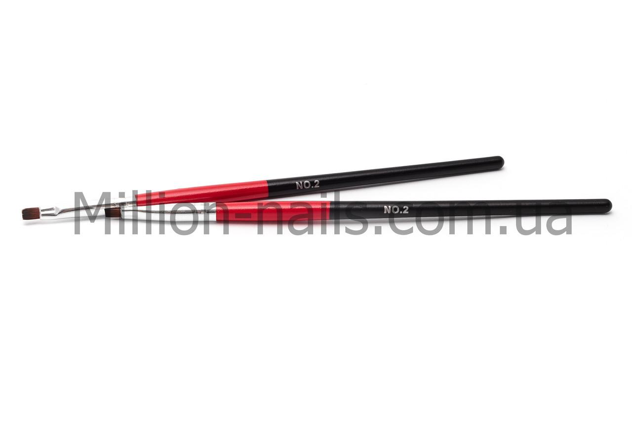 Кисти для геля №2, красно-чёрная ручка